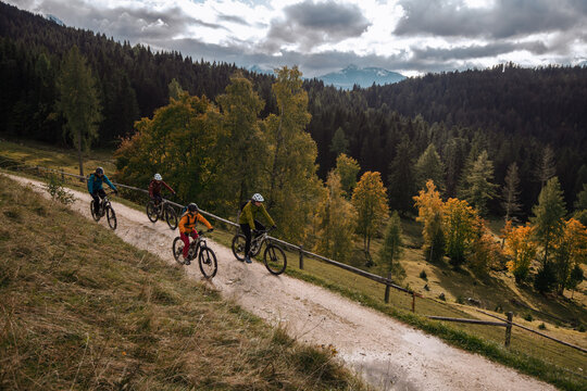 Four eBikers are on tour with their pedelecs, in the background you can see the Dolomites in South Tyrol.