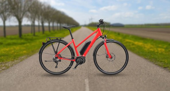 red Hybrid eBike powered by Bosch